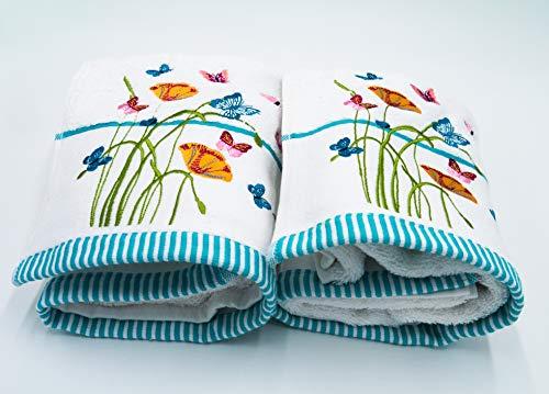 Lex's Linens 2 Badetücher mit Blumen und Schmetterlingen bestickt (100 x 140 cm)