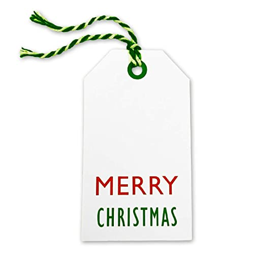 Set of 6 Large Primitive Personalised Christmas Gift Tags and Twine