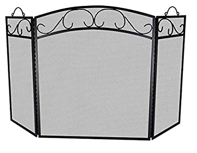 """Fire Beauty Fireplace Screen 3 Panel with Handles Wrought Iron 51""""(L) x31(H) Spark Guard Cover(Black) by Fire Beauty"""