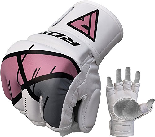 RDX MMA Gloves Women Grappling Martial Arts Sparring Punching Bag Ladies Cage Fighting Maya Hide Leather Mitts Girls UFC Combat Training