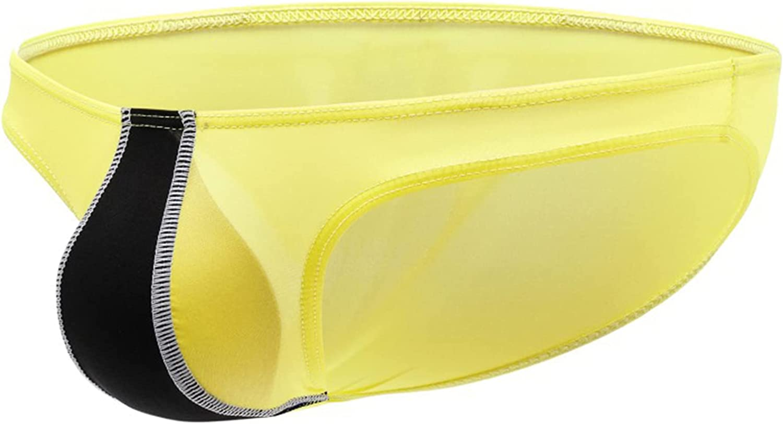JUDRR 3Pcs Men's U Convex Color Combination Panties, Elastic Ice Silk Ultra-Thin Triangle Briefs, Breathable Low-Waist