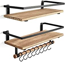 BAYKA Floating Bathroom Shelves for Kitchen Coffee Bedroom Decor, Wood Wall Mounted Rustic Floating Shelves for Home Storage, Over The Toilet Hanging Shelf with Hooks and Towel Bar, Set of 2
