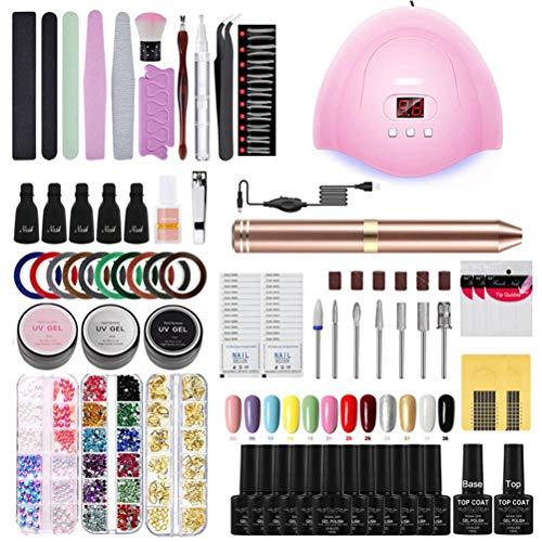 Ettzlo Kit de iniciación de uñas de Gel, Kit de iniciación de Esmalte de uñas de Gel Lámpara de uñas UV Kit de Gel de uñas de manicura para Principiantes