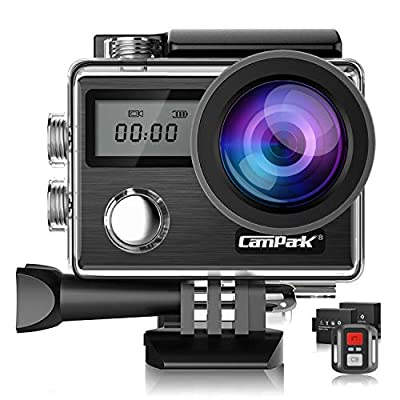 Campark X20 4K 20MP Action Camera Touch Screen EIS Anti Shake Waterproof Underwater Video Cam Adjustable View Angle, Remote Control 2 Batteries by Campark