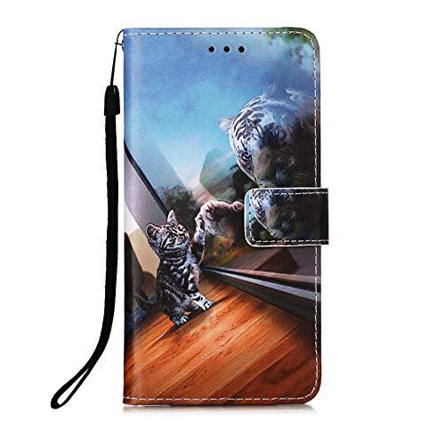 Kompatibel mit Samsung Galaxy S20 FE/S20 Lite 4G 5G Hülle Leder Kartenfach Silikon Animal Motiv Muster Klappbar Flip Hüllen Magnetisch Handyhülle Brieftasche PU Cover Hülle Mädchen Damen Süße Katze