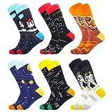 BONANGEL Calcetines Estampados Hombre, Hombres Ocasionales Calcetines Divertidos Impresos de Algodón de Pintura Famosa de Arte Calcetines, Calcetines de Colores de moda (6 Pares-Space)