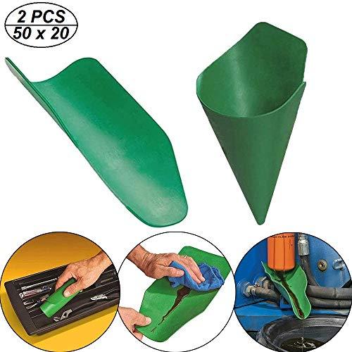 Herramienta de Drenaje de Aceite Flexible Form-a-Funnel, embudos Plegables de Uso General, Herramienta de guía de Aceite extendida Reutilizable para drenar y llenar fluidos (50 x 20 cm,2PCS)