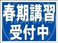 「春期講習受付中(紺)」」 金属板ブリキ看板警告サイン注意サイン表示パネル情報サイン金属安全サイン