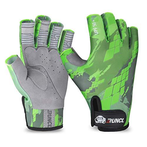 RUNCL Fingerless Gloves RAGUEL, Fishing Gloves, Sun Gloves - UPF 50+ Sun Protection, Microfiber-Tech Safeguard, Half-Finger Style, Breathable Ventilation - Kayaking, Cycling, Gardening (Green, S/M)