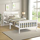 Twin Platform Bed, Rockjame Minimalistic Solid Wood Bed Frame with Headboard and Footboard, Suitable for Children, Teenagers and Adults (White)