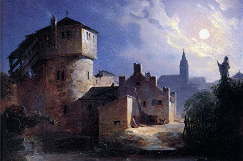 Bilderdepot24 Vlies Fototapete Carl Spitzweg - Alte Meister - Mondschein über dem Dorf - 180x120 cm...