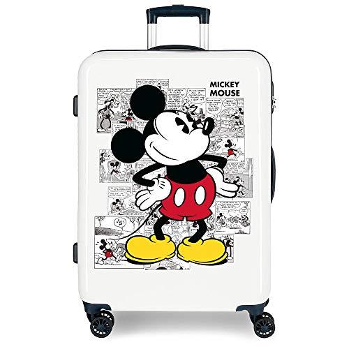 Disney Mickey Comic Maleta Mediana Azul 48x68x26 cms Rígida ABS Cierre combinación 70L 3,7Kgs 4 Ruedas Dobles