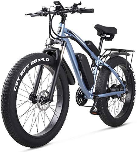 Bicicleta eléctrica Bicicleta eléctrica por la mon 26 pulgadas bicicleta eléctrica de montaña E-bici 21 Velocidad 48v batería de litio de 4,0 Todoterreno 1000w del asiento trasero de la bicicleta eléc