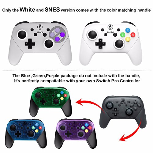 MASCARRY Replacement Shell Case for Switch Pro Controller, Super Switch DIY Transparent Faceplate and Backplate Case with Replacement Buttons for Switch Pro Controller (Atomic Purple)