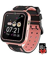 PTHTECHUS Kids Game Smart Watch Telefoon, Touchscreen Pols Smartwatch voor 3-12 jaar oude jongens meisjes met zaklamp Camera muziekspeler Wekker 7 Games Kinderspeelgoed Gift [SD-kaart inbegrepen]