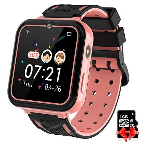 Reloj Inteligente para Niños pink,Smart Watch con Reproductor de MúSica SOS Linterna Cámara 7 Juegos Y Reproductor de MúSica, Reloj de Pulsera Digital para Niños De 3-12 Años [Tarjeta SD Incluida]