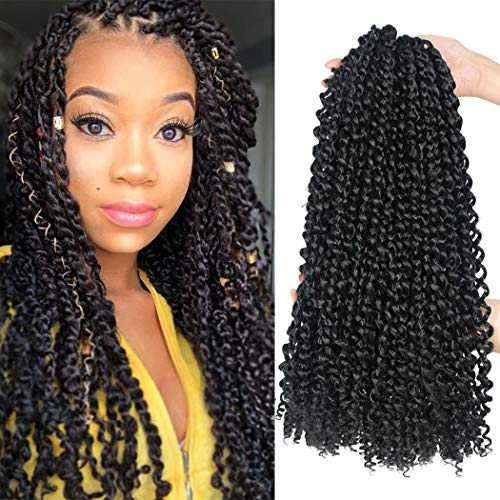 7 Packs Passion Twist Hair 18 Inch Water Wave Synthetic Braids for Passion Twist Crochet Braiding Hair Goddess Locs Long Bohemian Locs Hair Extensions (22Strands/Pack, 1B#)