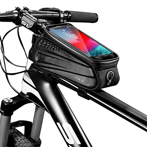 Lhh Bike Frame Bag, Waterproof Bicycle Accessories with TPU Touch Screen Eva Pressure-Resistant Handlebar Bag Headphone Hole Suitable for Smartphones Under 6.5 Inches