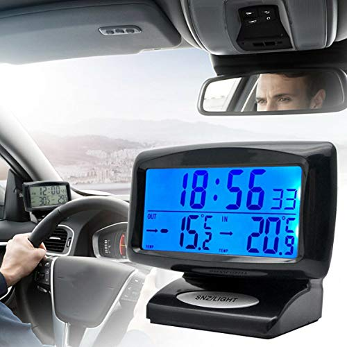 Riloer Termometro per orologio da auto, 2 IN 1 Orologio digitale e Themp con display a LED per auto da interni all aperto