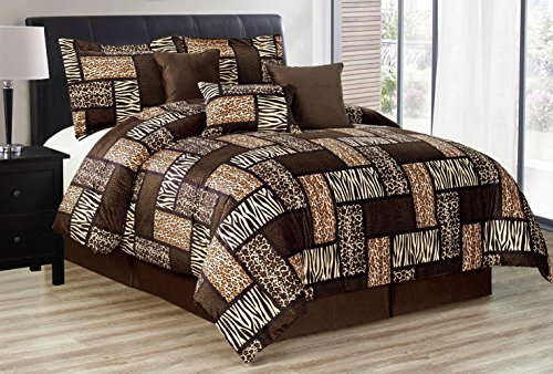 Black / Brown Comforter Set Animal Print Safari Patchwork Microfur Bed In A Bag KING Size Bedding - Leopard, Zebra, Cheetah Etc.