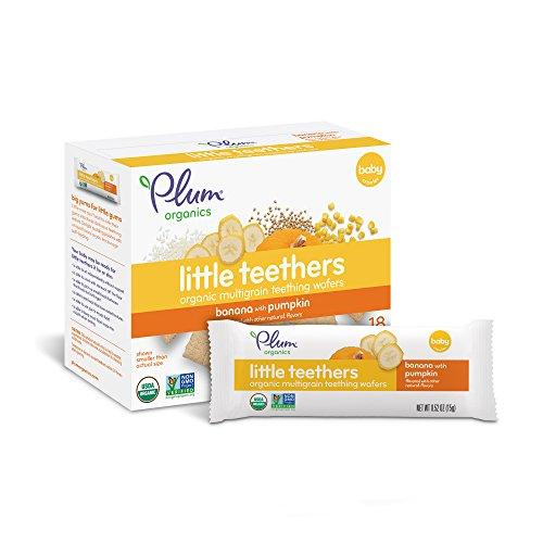 Plum Organics Little Yums, Organic Baby Teething Wafers, Pumpkin Banana, 3 Oz, 6 Bars