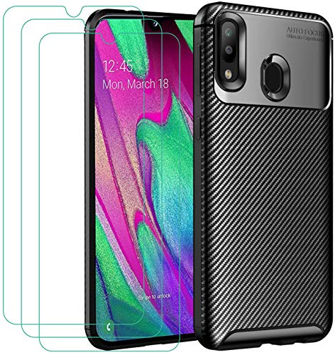 iVoler Cover per Samsung Galaxy A40 + 3 Pezzi Pellicola Vetro Temperato, Fibra di Carbonio Custodia Protezione in Morbida Silicone TPU Anti-Graffio e Antiurto Protettiva Case - Nero