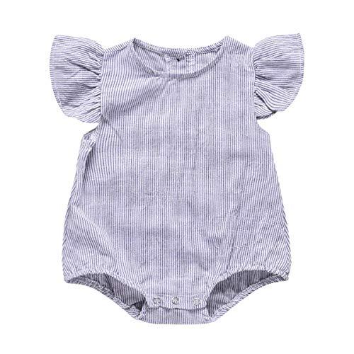Dibiao Baby Meisje Stripe Ruches Romper Knop Jumpsuit Speelpak Bodysuit (6-12M) Wit Blauw