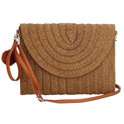 Bolsa de playa de verano de playa de verano hecha a mano bolsa de hombro para vacaciones viaje de mujer bolsa de paja tejida a mano bolsa de playa bolsa de hombro, color Marrón, talla Talla única