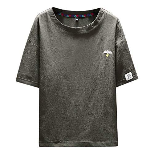 Sylar Camisetas Basicas para Hombre, Moda Simple Retro Color sólido Manga Corta Cuello Blusa Redondo Casual Suelto Tops Suave y Transpirable Camisa Camiseta Nuevo 2019