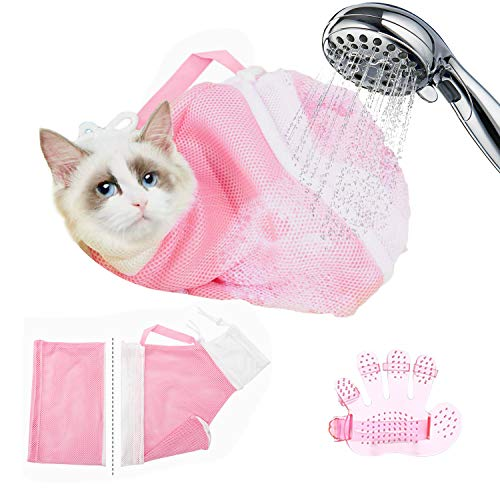 lehorra Cat Shower Net Bag and Massage Brush Pet Cleaning Shower Massage Cat Grooming Bag Adjustable AntiBite and AntiScratch Restraint Bag for Bathing Nail Trimming Pet Examination Ears Clean