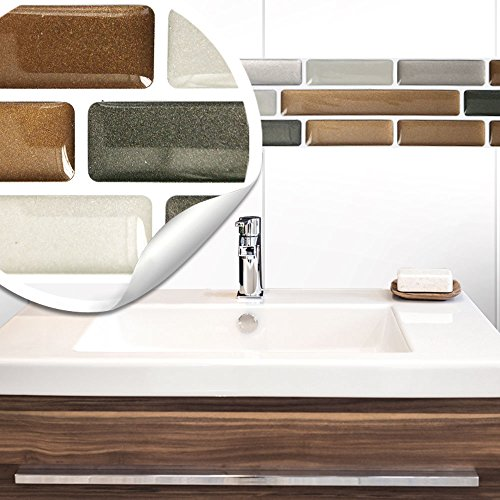 Wandora 5 pieces 27.9 x 4.3 cm tile stickers copper dark grey silver brick self-adhesive 3D tiles kitchen bathroom tile decoration tile film W1422