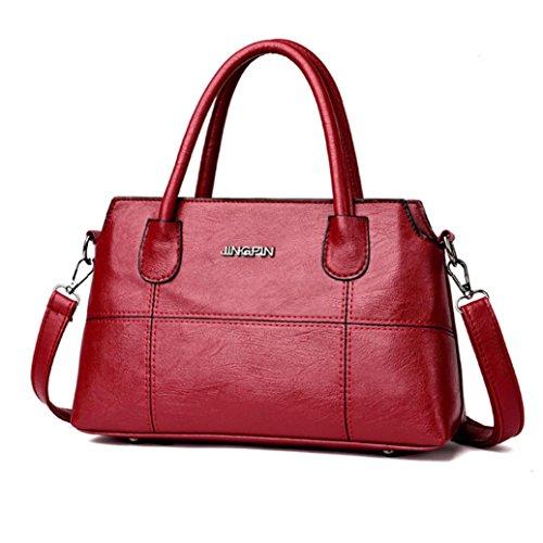 Dragon868 Damen Splice Handtasche Schultertasche Business Crossbody Tasche Tote Bag (Rot)