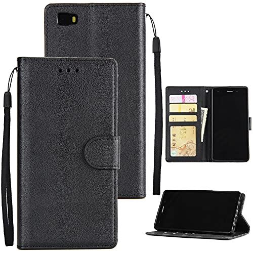 Tapa de la caja de la caja del teléfono Caja de la billetera para Huawei P8 Lite, Funda de cartera de cuero PU Premium PU [Correa de muñeca] Flip Folio con Bolsillos de identificación y tarjeta de cré