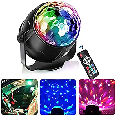 Disco LED Stage Light,Disco Ball Lights Sensory Light Sound Activated and Rotating Strobe Lights for Disco Christmas Birthday Party Decoration,Remote Control,British Plug Cable