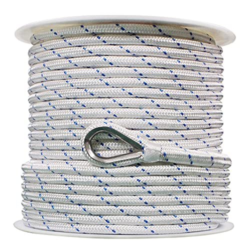 """Extreme Max 3006.2514 BoatTector Double Braid Nylon Anchor Line with Thimble - 1/2"""" x 150', White with Blue Tracer"""