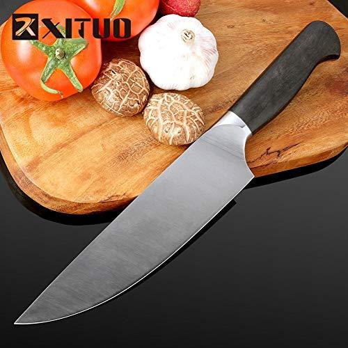 Koksmes Hoogwaardige scherp mes Duitsland 4410 roestvrij staal 8 '' in bevroren vlees snijder Chef mes keukenmes Salmon Vleesmes Scherp (Color : A)