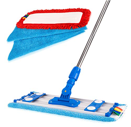 Microfiber Mop Kit - Professional Mops for Floor Cleaning - Easy Microfiber Mopping for Laminate, Hardwood, Tile, Bamboo and Stone Floors - Mop Pads Included - Telescopic Handle