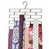 mDesign Percha múltiple para pañuelos – Organizador de pañuelos, chales, bufandas y fulares con 18 orificios – Organizador de accesorios para ahorrar espacio en los armarios – dorado rojizo