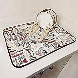 DRWhem Tappetino Scolapiatti Microfibra Assorbente Grande 45 x 60cm Tampone scolare i piatti Anti Scivolo Amore Cuore per Cucina, Lavello