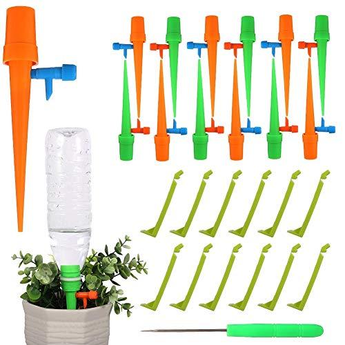 Auxsoul 12 Piezas Sistema de Riego por Goteo Automático Bebedero de Plantas Dispositivos Automáticos de Riego de Plantas para Jardín Bonsáis y Flores