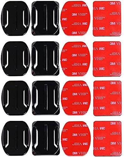 Vegena 8pcs Casco Cámara Adhesivos ,Kit de Accesorios Cámara Deportiva,Pegatinas Almohadillas Casco Cámara Accesorio,Almohadilla de Goma, 3M Adhesivo Pads Set para Gopro Hero 3+ 3 2 1 4 Cámara