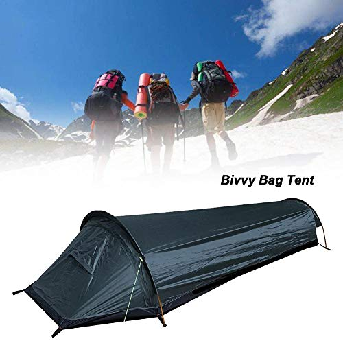 rosemaryrose 1 Person Trekker Tent Hiking Outdoors One Man Tent Single,Ultralight Bivvy Bag Tent Compact Single Person Larger Space Waterproof Sleeping Bag Cover Bivvy Sack- For Outdoor Camping