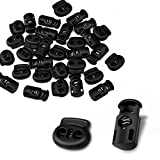 CousDUoBe 30 Pcs Plastic Cord Locks End Spring Stopper,Suit for Drawstrings, Bags, Shoelaces, Clothing, More 15 Double-Hole, 15 Single-Hole, Black)