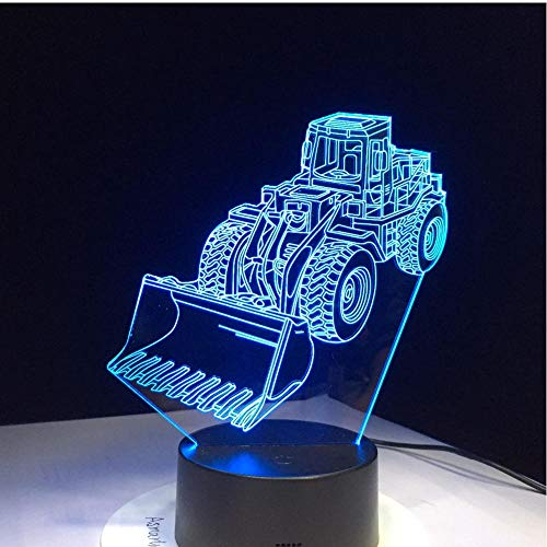 MRQXDP Excavadora Bulldozer Máquina lámpara 3D LED Luz nocturna 7 Cambio de...