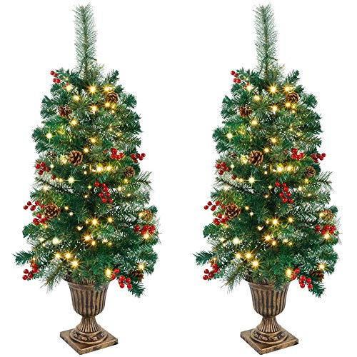 Juegoal 3 FT Christmas Tree, Pre-Lit Crestwood Spruce Entrance Tree with 100 LEDs Fairy Lights, Pine Cones, Red Berries in Gold Urn Base for Front Door, Porch, Entryway Xmas Home Decorations, 2 Pack