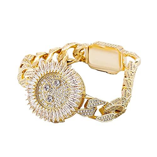 Fantex 14K Iced Out Royal Style Pulsera de lujo, cadena cubana con colgante de corona de diamantes marquesa, joyería de hip hop para hombres y mujeres (Gold, 7)