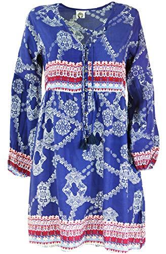Guru-Shop Indische Boho Tunika mit Puffärmeln, Lange Ärmel Bluse, Damen, Indigoblau, Synthetisch, Size:S (38), Blusen & Tunikas Alternative Bekleidung