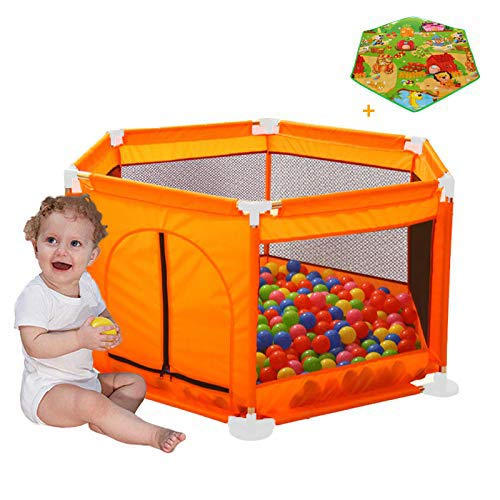 Arkmiido Kids Fence, Portable Fencing for Infants and Babies Lightweight Mesh Baby Playpen with Carrying Case Easily Open Orange