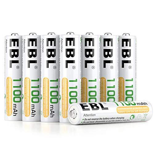 EBL 1100mAh AAA Ni-MH 1200 Ciclo de Pilas Recargables de 1,2V para los Equipos Domésticos con Estuches de Almacenamiento (8 Piezas)
