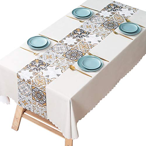 LKH Vinyl Tablecloth Rectangular, Jacquard PVC Table Cloth Oil-Proof Spill-Proof and Water Resistance Table Cover for Dining Table, Buffet Parties and Camping(Color:F,Size:140×140cm)